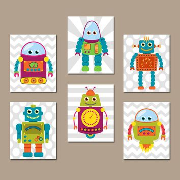ROBOT Wall Art, Robot Decor, Big Boy Room Pictures, Robot CANVAS or Prints Robot Theme Nursery Decor, Outer Space Theme, Set of 6 Pictures