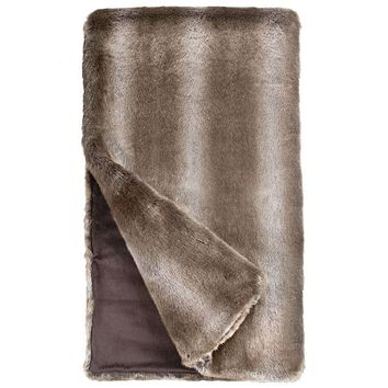 Timber Wolf Couture Faux Fur Throw Blanket