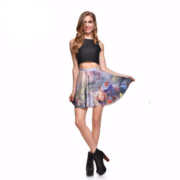 Summer style New 2016 sexy Women's fashion Beauty Beast romance SKATER SKIRT-LIMITED Digital Print Ladies Fairy tales Skirts