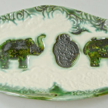 Elephant plate, Spoon rest, India Decor, cookie plate, hand painted plate, appetizer plate, soap dish, butter dish, small plate,