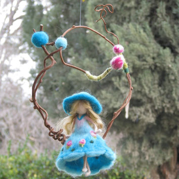 Needle felted Waldorf inspired Magic fairy Mobile On a twig Turquoise