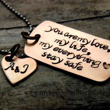 mens necklace-personalized necklace-handstamped-copper dog tag and heart, personalized to your liking-unisex-mens