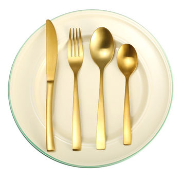 KCASA KC-FL80 Stainless Steel Yellow Gold Flatware Dinnerware Cutlery Fork Knife Spoon Tableware Set