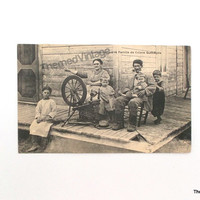 Vintage Postcard  Quebec Canada antique post card Québéçois family life spinning wheel