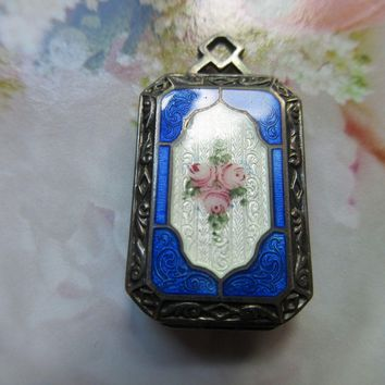 Vintage Deco 20s Sterling Enameled Locket Guilloche Enameling