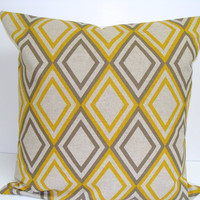 Pillow.Brown.Yellow Gold.18x18 inch Decorator Pillow Cover.Printed Fabric Front and Back.Diamonds,Geometric. Pillow