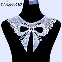 Misaya 1pc Imitation Pearl Bowknot Lace Neckline Fabric Milk Silk Wedding Decoration Collar Lace For Sewing Supplies Crafts