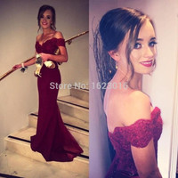 Backless 2017 Mermaid V-neck Cap Sleeves Sweep Train Burgundy Lace Elegant Long Evening Dresses Evening Gown Prom Dresses Gown