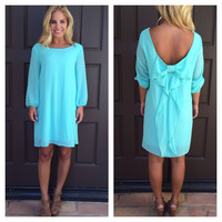 Mint 3/4 Sleeve Bow Dress