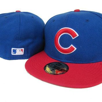 ESBON Chicago Cubs New Era 59FIFTY MLB Hat Blue-Red