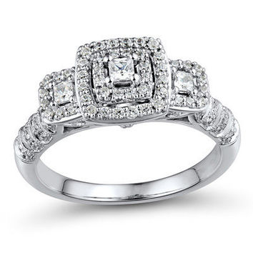 3/8 CT. T.W. Princess-Cut Diamond Frame Three Stone Engagement Ring in 10K White Gold - Save on Select Styles - Zales
