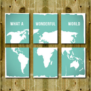 Set 6 Prints 8 x 10 World map, what a wonderful world SALE modern home decor