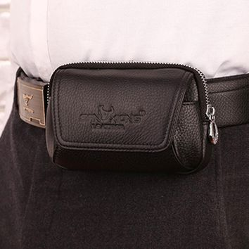 Genuine Leather Cowhide Vintage Phone Belt Pouch
