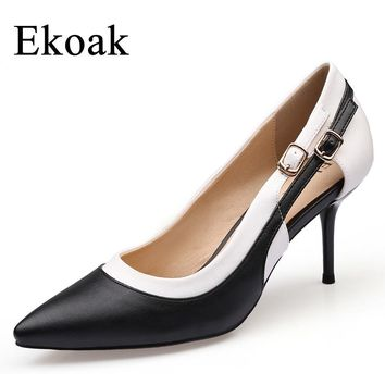 Ekoak New 2017 Classics Genuine Leather Dress Shoes Woman Sexy Thin High Heels Women Shoes Fashion Sheepskin Ladies Party Shoes