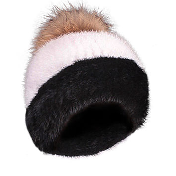 Mink Limited Edition Full Fur Hat Stripe Black