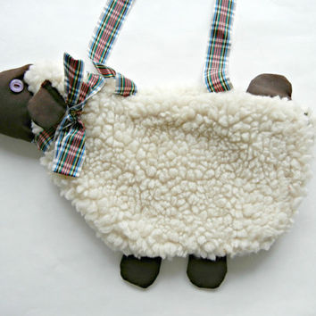 Lamb Purse with Wooly Appearance (Chocolate Brown Feet, Face, Tail, and Ears)