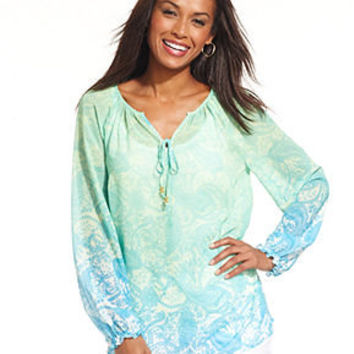 Charter Club Top, Three-Quarter-Sleeve Printed Ombre Peasant - Women - Macy's