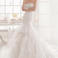 [225.99] Exquisite Tulle & Organza Strapless Neckline Mermaid Wedding Dresses with Beaded Lace Appliques - Dressilyme.com