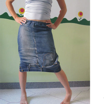 Denim Silvia Skirt by TheButterfliesShop on Etsy