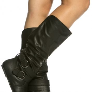 Black Faux Leather Buckle Accent Boots @ Cicihot Boots Catalog:women's winter boots,leather thigh high boots,black platform knee high boots,over the knee boots,Go Go boots,cowgirl boots,gladiator boots,womens dress boots,skirt boots.