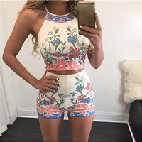 White Floral Print Sleeveless Top with Mini Shorts