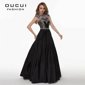 Taffeta Fabric 100% Handwork Sexy Design Black Color Long crystal prom dress OL102515