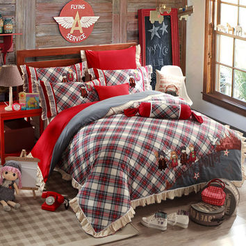 Country Style Plaid Ruffle Bedding Sets Duvet Cover Bed Sheets High Quality Pure Cotton Fabric Reactive Printing Bedroom Sets