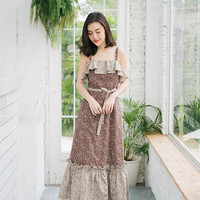 Maxi Dress Cotton Dress Ruffle Tiered Long Dress Vintage Inspired Dress Brown Summer Dress Sundress Beach Dress- Mermaid Serie