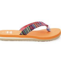 TOMS Red Woven Youth Verano Flip Flops Red