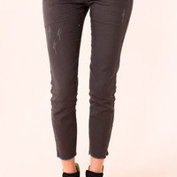 Distressed Frayed Skinnies In Grey