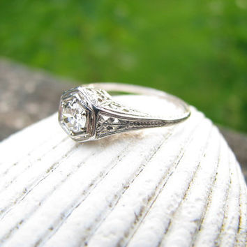 Detailed and Elegant Antique Platinum Diamond Engagement Ring - Flower design with Engraving
