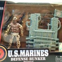 U.S. Marines Defense Bunker Play Set Action Figure Gear Official Licensed New