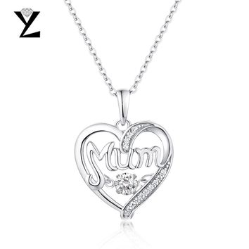 YL Heart-Shaped 925 Sterling Silver Initial Necklaces Pendant Best Gift for Mom Dancing Topaz Natural Stone Fashion Fine Jewelry