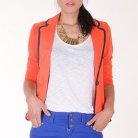 ORANGE ORANGE BLAZER WITH BLACK PIPING ACCENT @ KiwiLook fashion