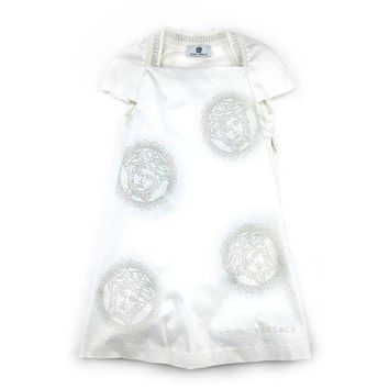 NOV9O2 Versace Girls White Medusa Dress