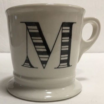Anthropologie Monogram Ceramic Coffee Cup Mug Personalized Name Letter Initial M