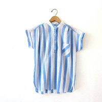 20% OFF SALE Vintage striped cotton shirt. Blue + white nautical shirt. Short sleeve shirt. Preppy button up shirt.