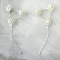 White Rose Pearl Cat Ears Headband | Ariana Grande Cat ears | Flower Headband | Kawaii | Lolita | Pastel Goth | Harajuku |