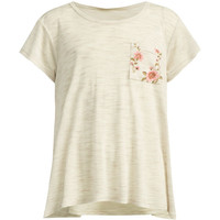 Full Tilt Floral Print Pocket Girls Sharkbite Tee Oatmeal  In Sizes