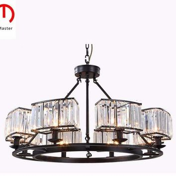 Vintage Glass Crystal Chandelier Light Fixture Black Cottage American Suspension Lamp Hanging Light  kitchen Lighting ceiling