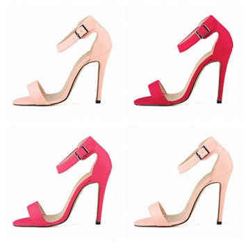 Summer Fashion Buckle Matte Leather Exposed Toe Sandals Women Heels Shoes