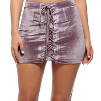 Purple Lace Up Velvet Mini Skirt