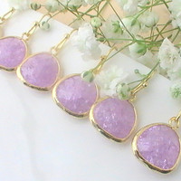 Bridesmaid Earrings 10% Off Set Of 4, Purple Bridesmaid Earrings, Lavender Earrings, Unique Bridesmaid Gifts, Will You Be My Bridesmaid