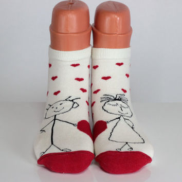 Love Socks I Love My Wife Heart Socks Stickman Stickwomen Scarf Red Hearts Funny Socks Fun Socks Best Gift Ideas for Love Women Socks