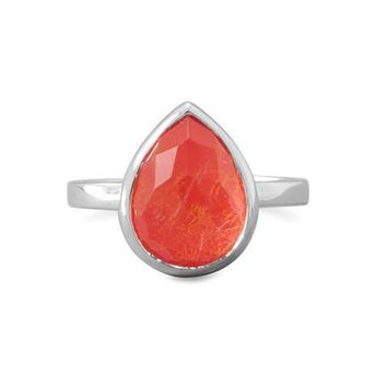 Large Pearl Faceted Quartz over Coral Stackable Ring