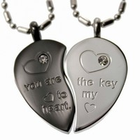 R.H. Jewelry Stainless Steel Lovers Couple Matching Pendant Necklace Split Heart Set