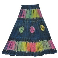 Boho Skirt Tie Dye Blue Embroidered Stonewashed Rayon Hippie Gypsy Skirt: Amazon.com: Clothing
