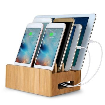 Bamboo Multifunction Mobile Phone Holder Multi Device Cords Organizer Stand Charging Station For iPhone For Smart Phone/Tablet