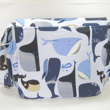 Whale Diaper Bag, Sea Life Messenger Cross Body Bag, Inside Zippered Pocket, Ready to Ship