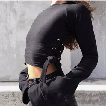 2016 AA metel eyes Lacing up side Hoodies Sweatshirts harajuku Short Sweats Women Clothing Feminina Loose Short Jumper Sweats